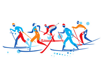 Cross Country Ski Race. A stylized drawing of cross-country ski competitors. Vector available.