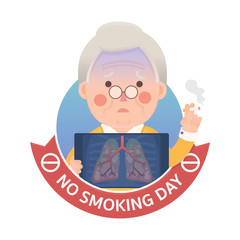 Vector Illustration of Old Man Smoking Cigarette While Holding X-ray Image Showing Lung Pulmonary Emphysema Problem With No Smoking Day Ribbon Sign, Cartoon Character