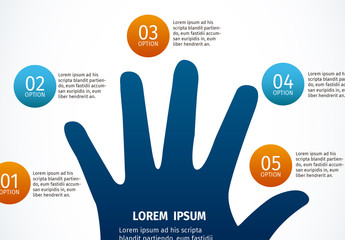 Hand Element Infographic with Shaded Circle Tabs