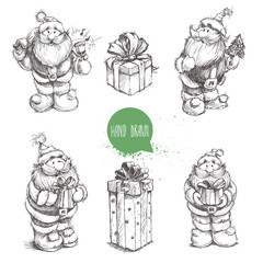Different poses set of hand drawn Santa Claus and gift boxes. Sketch style creative vector illustration.