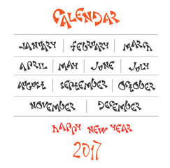 hand written year month names