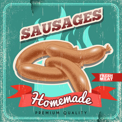 Homemade sausages vintage vector poster. Old paper textured background. Grilled premium quality sausages. Barbecue retro design.