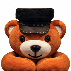 Teddy bear on the avatar in a cap on a white background