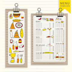 Menu template on wooden board with clips. Hand Drawn elements.  for your design. Hipster style