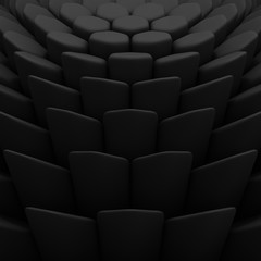 Black abstract hexagons backdrop. 3d rendering geometric polygons