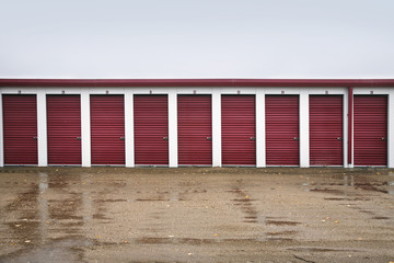 Storage units with red doors;Canada