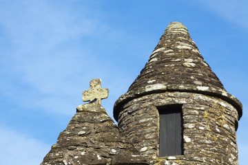 Belfry with conical roof of saint kevin's church;Glendalough, county wicklow, ireland
