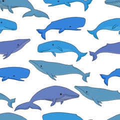 Cartoon vector sea whale and sperm whale seamless pattern. Vecto