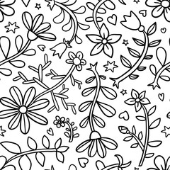 Decorative graphic curly floral seamless pattern, monochrome end