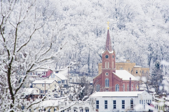 Church building with a steeple in a community in winter;Ripley, ohio, united states of america