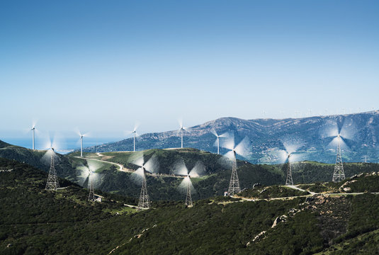 Wind turbines on a hill;Tarifa cadiz andalusia spain