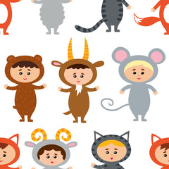 Seamless pattern with little kids in their animal costumes. Vect