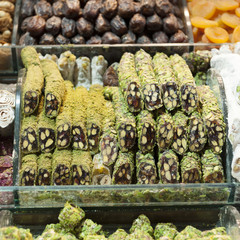 Food on display for sale at the grand bazaar;Istanbul turkey