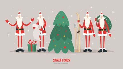 Collection of Christmas Santa Claus vector illustration. Set of cartoon Santa Claus in different poses. Merry christmas design elements. Xmas background.