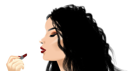 Illustration of a female applying red lipstick