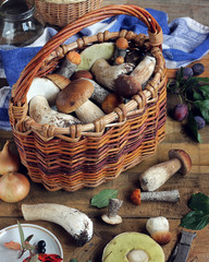 Basket with mushrooms on a wooden table.