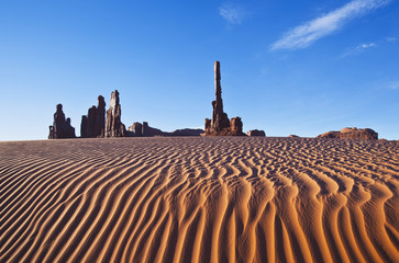 Early morning sand dunes at totem pole;Monument valley arizona united states of america