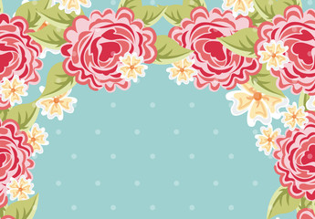 Bright Rose and Yellow Flower Border on a Polka Dot Background