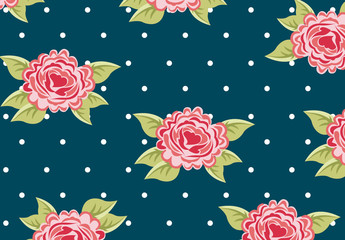 Pink Roses and Polka Dots Pattern on a Navy Blue Background