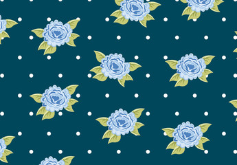 Light Blue Roses and Polka Dots Pattern on a Navy Blue Background