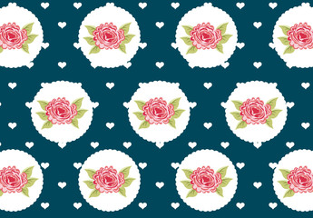 Pink Roses, White Hearts, and Scalloped Circles Pattern on a Navy Blue Background