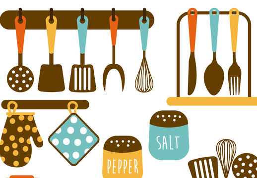 8 Color Kitchen Item Icons