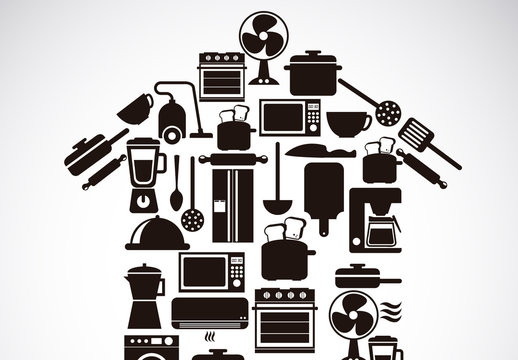 Black and White Home Appliance Icons in a House Shaped Illustration