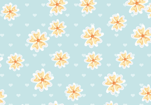 Yellow Flowers and Hearts Pattern on a Light Blue Background
