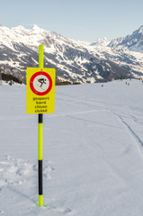 Prohibitory signs for skiers