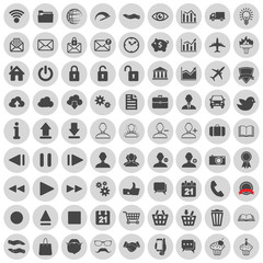 set of web, multimedia, social and business icons on a white bac