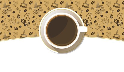Coffee cup on a saucer top view background. White mug full of coffee on sketchy hand drawn backdrop. Vector eps10 illustration.