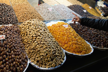 Variety of dried fruit and nuts at the market