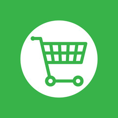 white flat shopping cart icon on a green background - vector ill