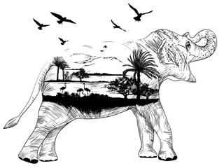 Vector Double exposure, African elephant for your design