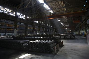 Light Shafts Inside Dark Metals Factory Gansu Province China