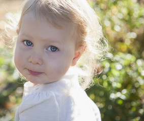 Portrait of a young girl in a garden;British columbia canada