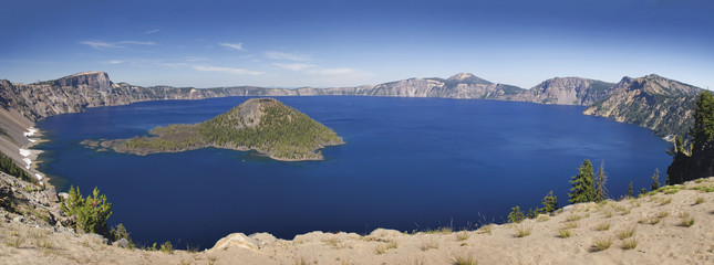 Panoramic view of crater lake;Oregon united states of america