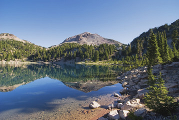 Mountain reflecting in a lake in the early morning lassen volcanic national park;California united states of america
