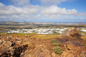 View of teguise from santa barbara of guanapay castle;Teguise lanzarote canary islands spain