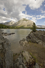 Canadian rocky mountains and a lake;Banff alberta canada