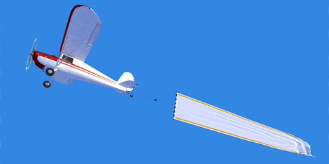 Flying Airplane with blank banner