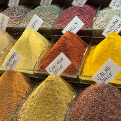 Spices in bins labeled for sale at the grand bazaar;Istanbul turkey