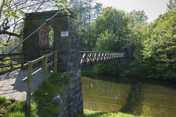 Cable bridge crossing river kent;Sedgwick cumbria england