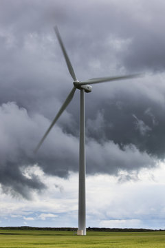 A wind turbine under a cloudy sky;Northumberland england