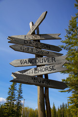 Rustic canadian wooden destination sign post;Stewart crossing yukon canada