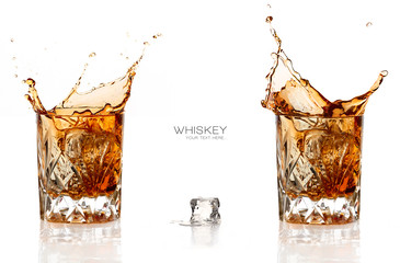 Two Whiskey Splash Isolated on White Background