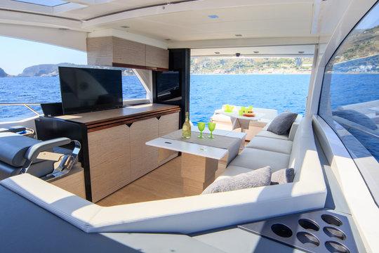 interior of luxury motor boat, rio yachts italian shipyard