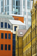 Buildings with a variety of facades, Spitalfields; London, England
