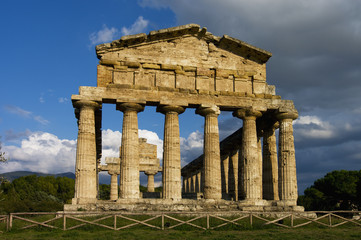 Ruins of an ancient Greek city; Paestum, Campania, Italy