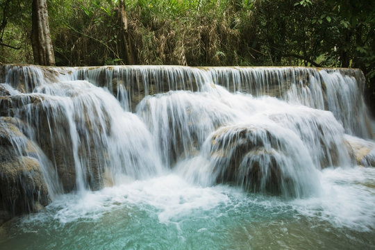 Kuang Si Falls, a favourite tourist attraction; Luang Prabang, Laos